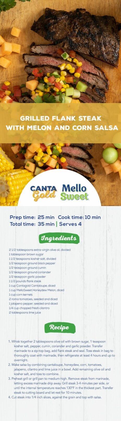 CantaGoldMellow_PinterestPinPinterest_Grilled Flank Steak with Melon and Corn Salsa
