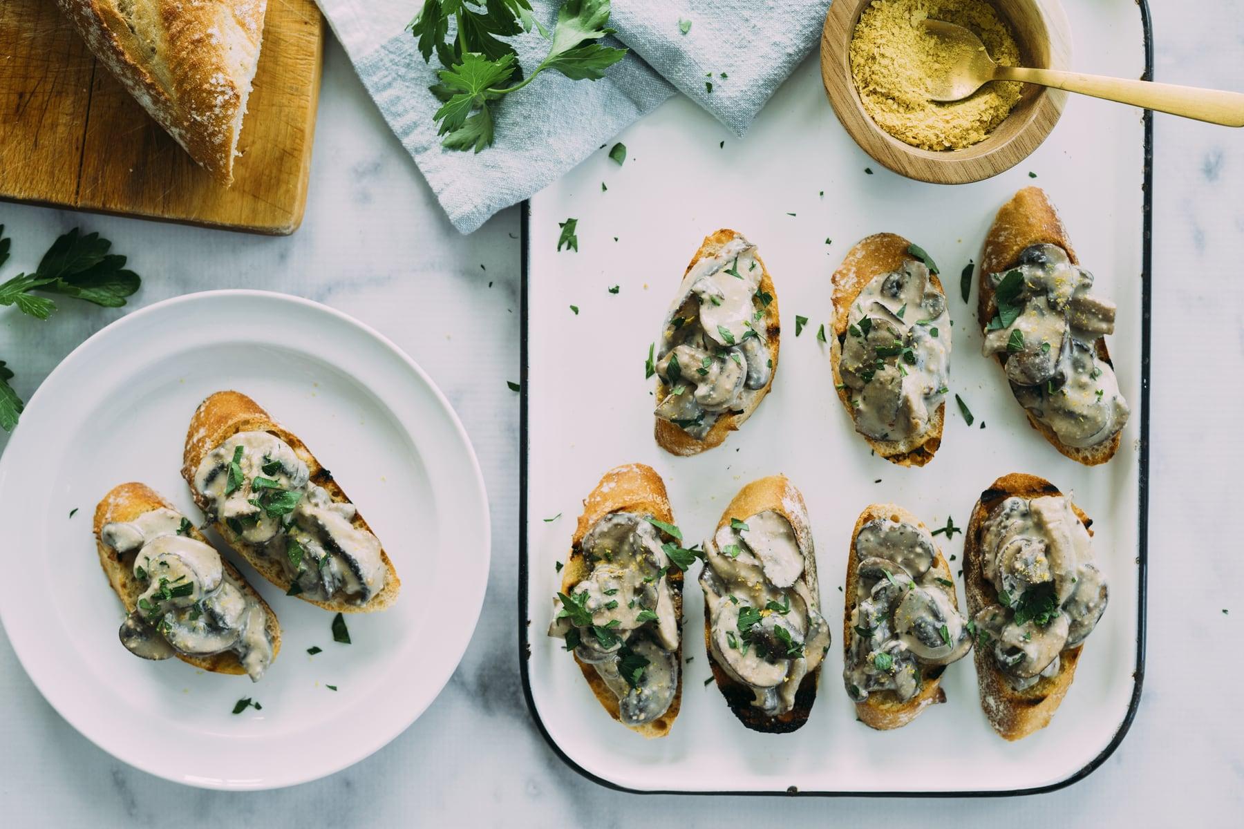 Creamy Vegan Alfredo Mushroom Toast HERO