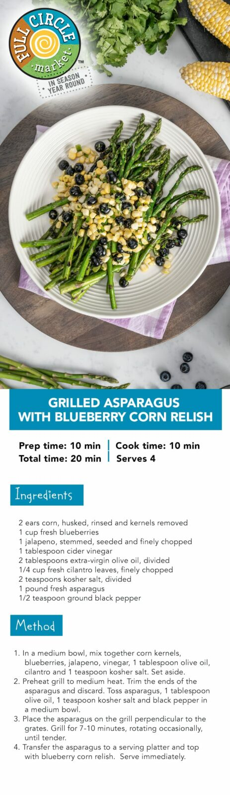 FullCircle_PinterestPinPinterest_Grilled Asparagus with Blueberry Corn Relish