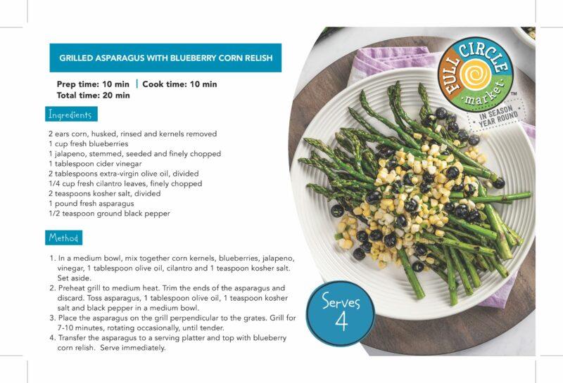 FullCircle_ShelfTalker_ Grilled Asparagus with Blueberry Corn Relish