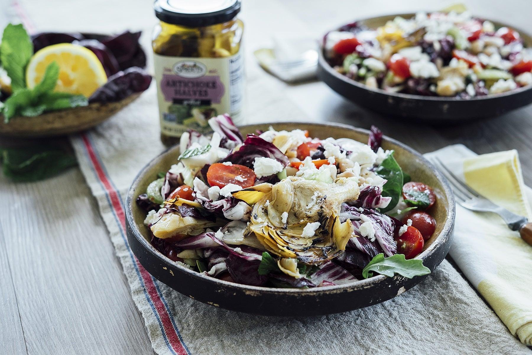 Grilled Artichoke Salad Bowl HERO