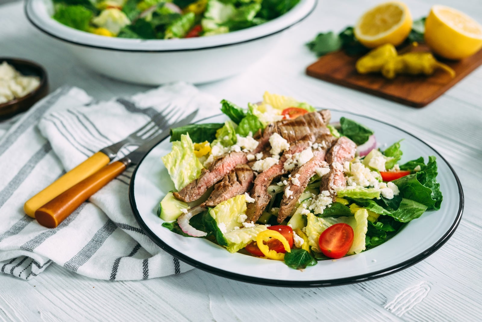 Grilled Flank Steak with Greek Salad_HeroA