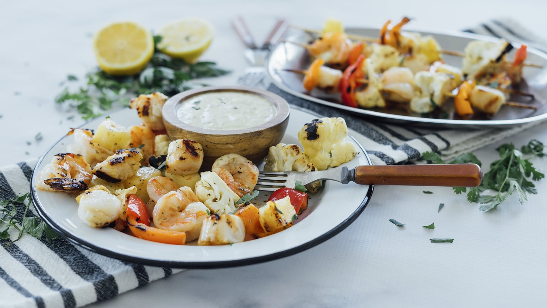 Grilled Shrimp, Scallop & Cauliflower Skewers HERO