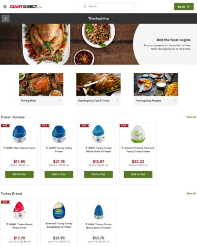 Photo showing food and drink content along with related products in Giant Direct online store.