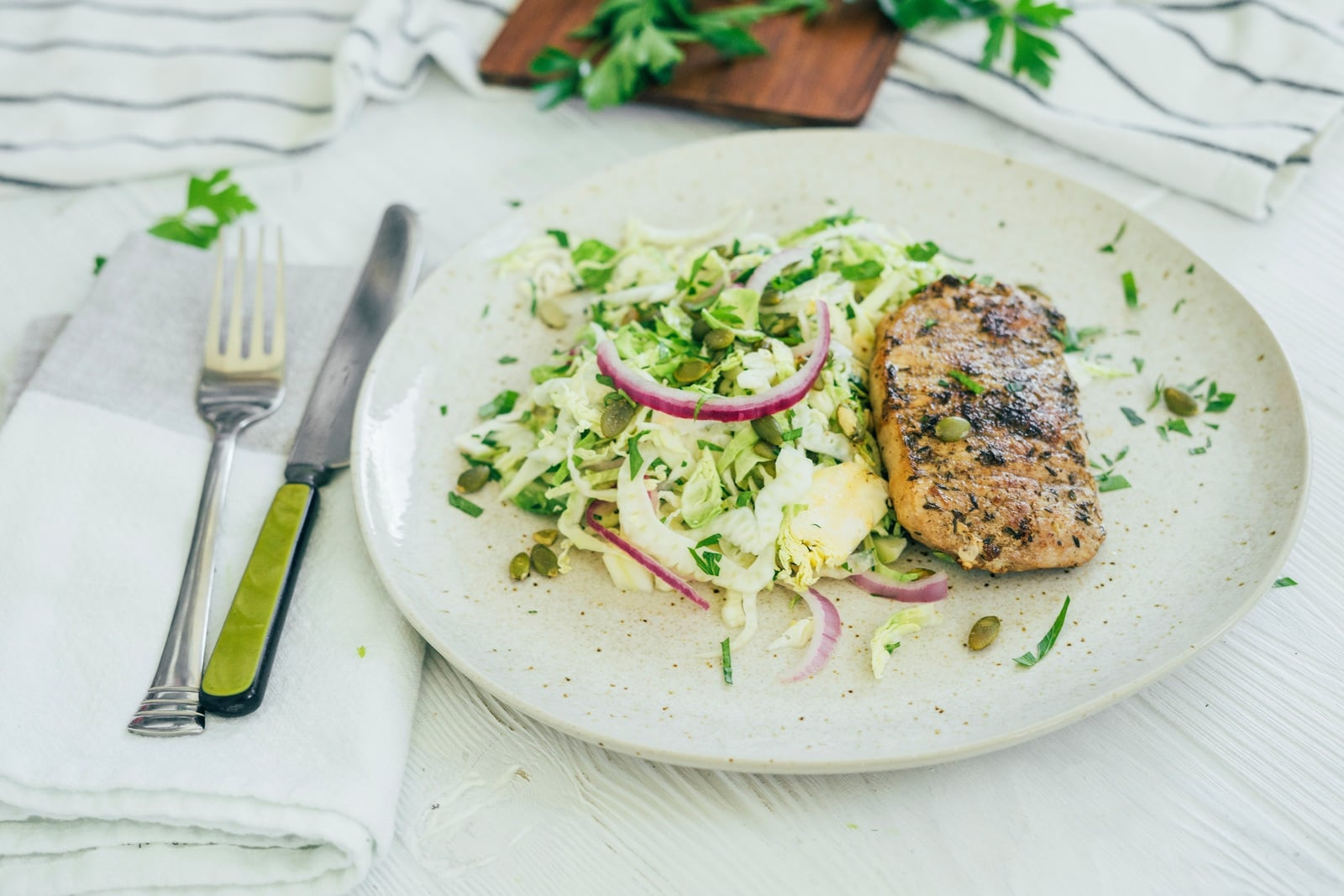 Seared Pork Chops with Brussels Sprouts Slaw_hero