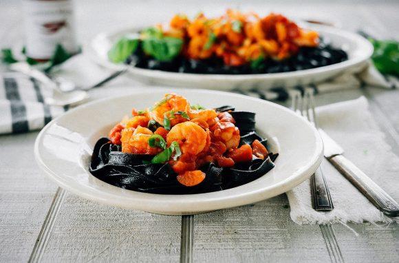 Portfolio dish works shrimp with spicy harissa tomato sauce on squid ink pasta recipe for casablanca market forumfinder Choice Image