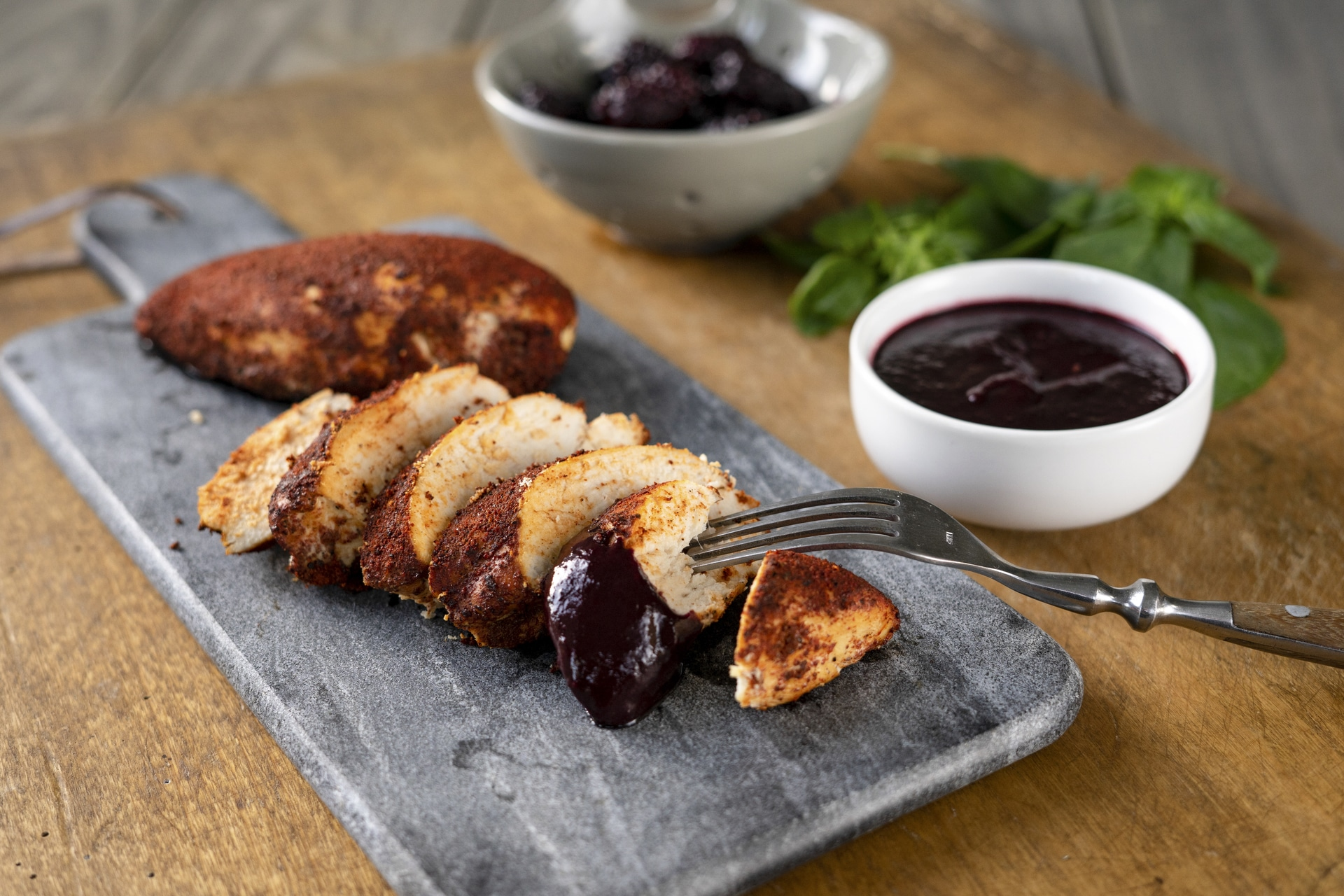 Smoked Chicken with Marionberry Sauce