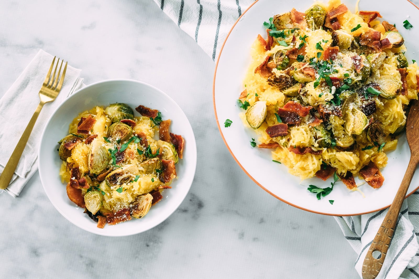 Spaghetti Squash with Brussels Sprouts and Bacon_Hero