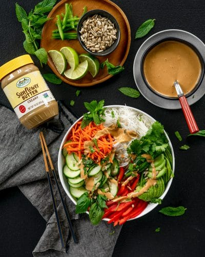 Grocery products and spring roll bowl recipe.