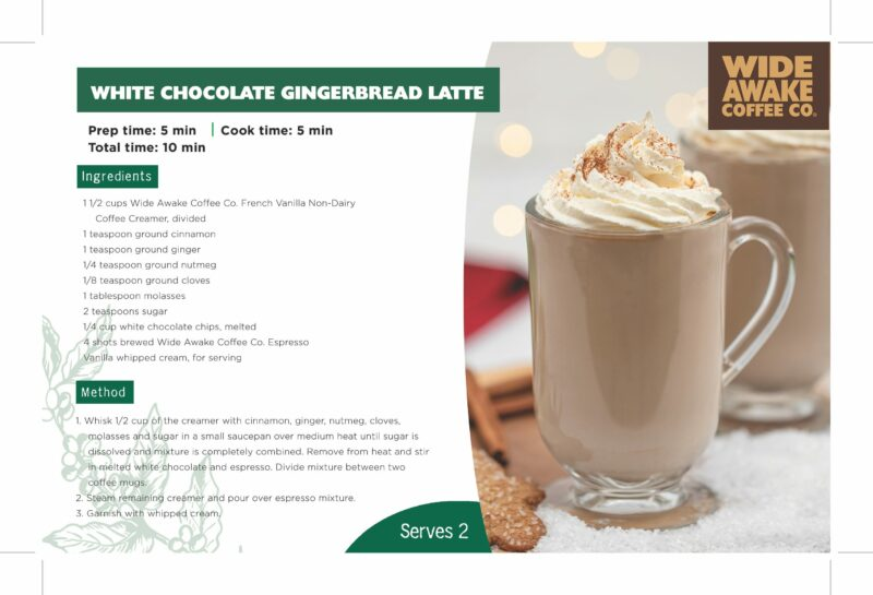 WideAwake_ShelfTalker_White Chocolate Gingerbread Latte