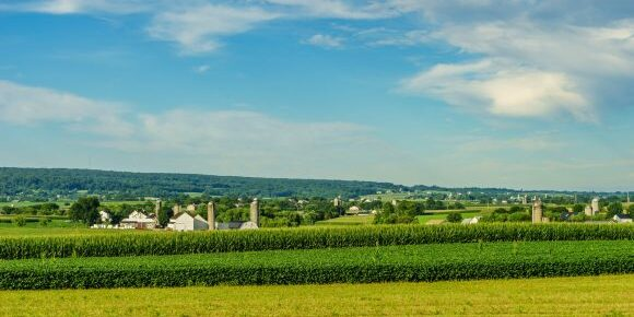 Amish country farm barn field agriculture in Lancaster PA US